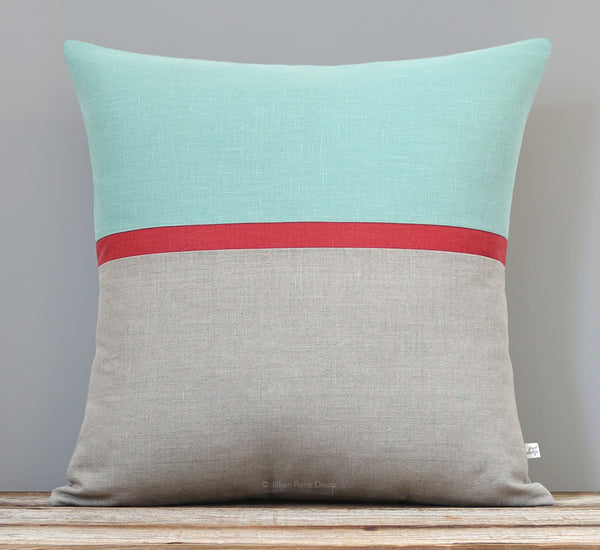 Aqua Horizon Line Pillow Cover with Marsala Stripe
