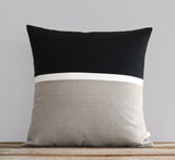 Horizon Line Pillow - Black, Cream and Natural Linen