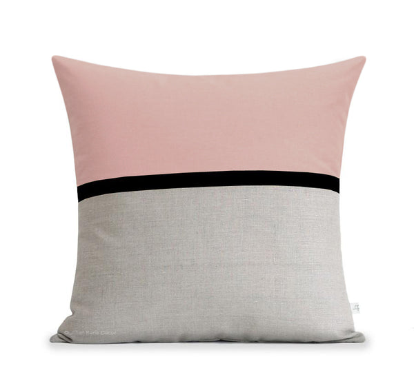 Blush Horizon Line Pillow with Black Stripe