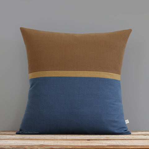 Horizon Line Pillow - Caramel, Curry and Navy