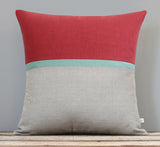 Marsala Horizon Line Pillow Cover with Auqa Stripe