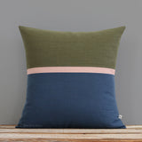 Horizon Line Pillow - Olive, Blush and Navy
