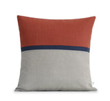 Horizon Line Pillow - Sienna, Navy Blue and Natural Linen