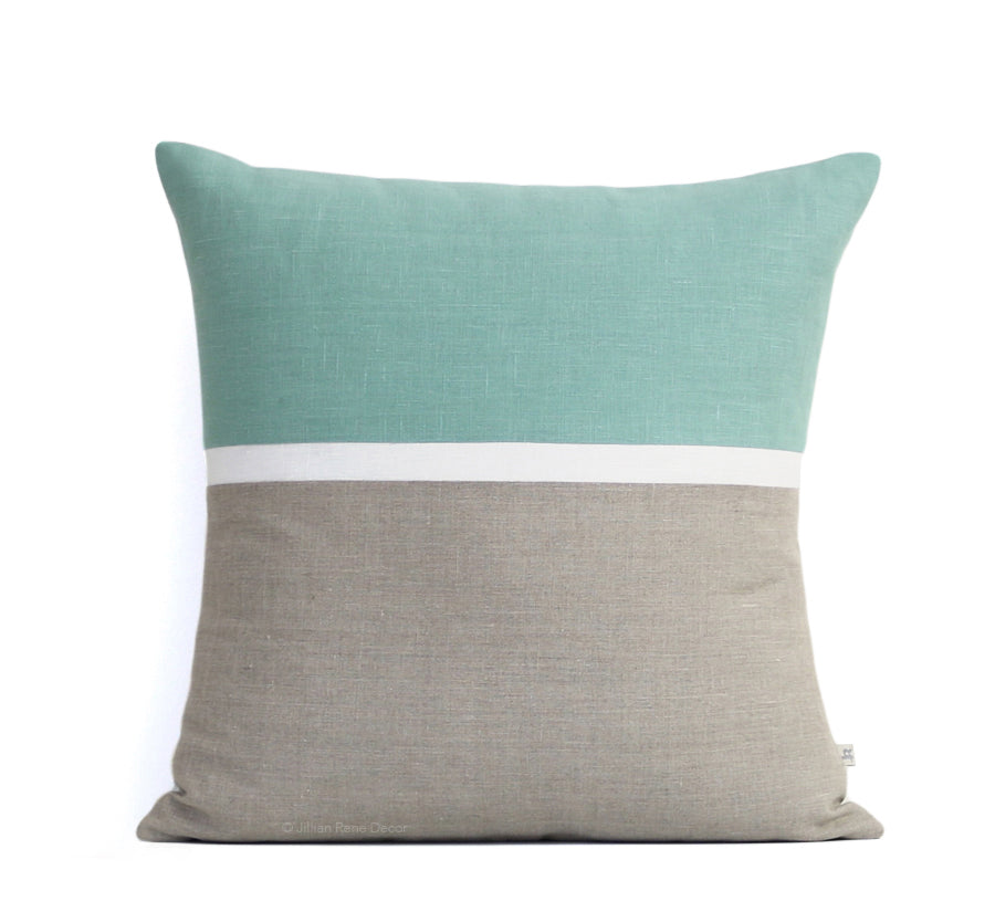 Aqua Horizon Line Pillow