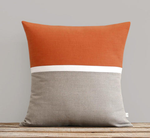 Horizon Line Pillow - Burnt Orange, Cream and Natural Linen