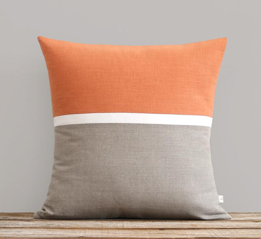 Horizon Line Pillow - Pumpkin Orange, Cream and Natural Linen