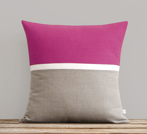 Horizon Line Pillow - Sangria, Cream and Natural Linen
