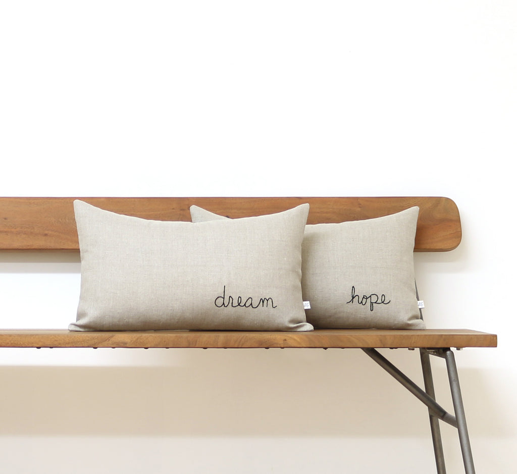 Embroidered Word Pillow - DREAM
