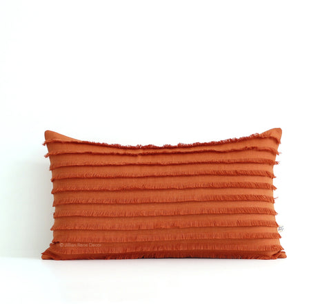 Burnt Orange Layered Fringe Pillow