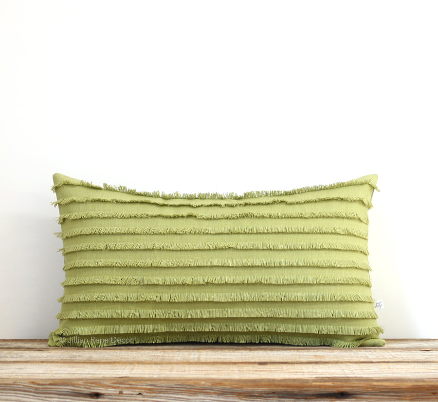 Linden Green Layered Fringe Pillow