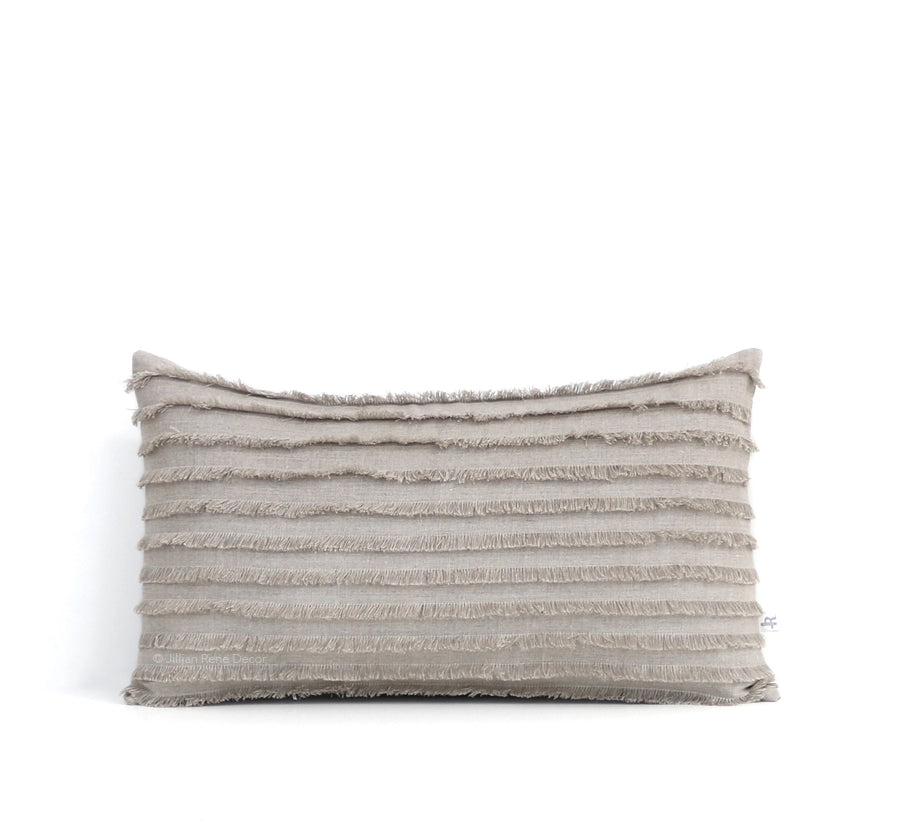 Natural Layered Fringe Pillow