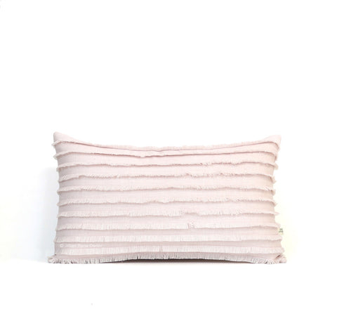 Pastel Pink Layered Fringe Pillow