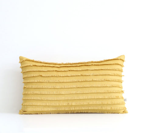 Yellow Layered Fringe Pillow