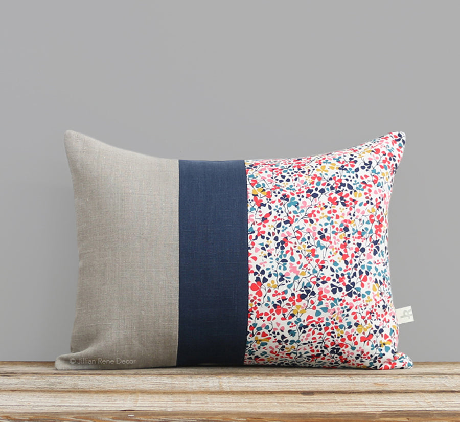 Limited Edition: Sandalwood Leaves Liberty Print Pillow Cover - Ninataylor Navy
