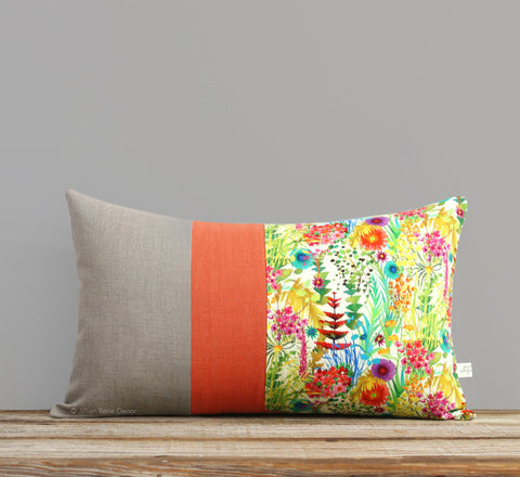 Limited Edition: Abstract Floral Liberty Print Pillow Cover - Tresco Orange