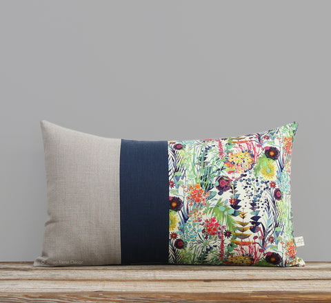 Limited Edition: Abstract Floral Liberty Print Pillow Cover - Tresco Navy