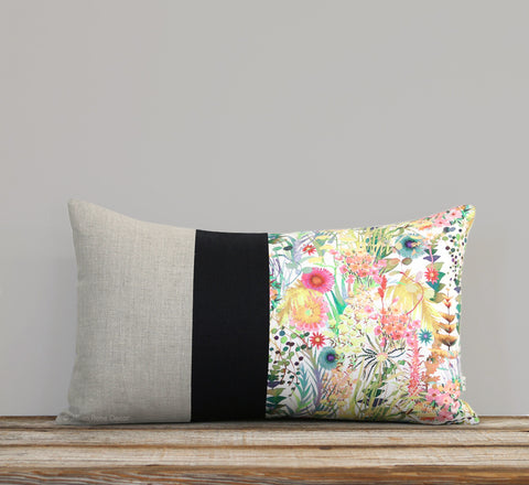 Limited Edition: Abstract Floral Liberty Print Pillow Cover - Tresco Black