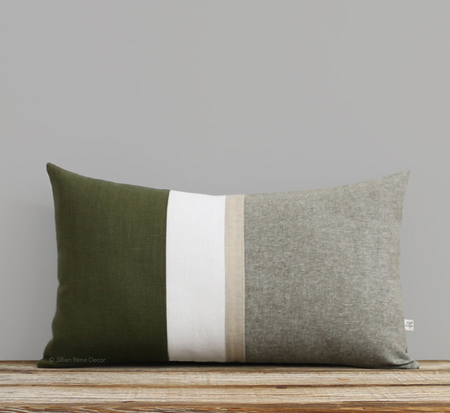 Cypress Chambray Pillow with Gold Stripe