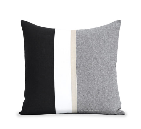 Black Chambray Pillow with Metallic Gold Stripe