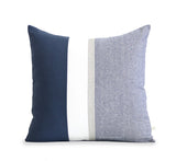 Navy Chambray Pillow with Metallic Gold Stripe