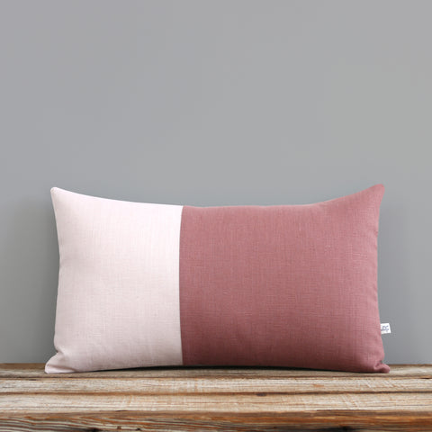 Monochromatic Colorblock Pillow - Pink