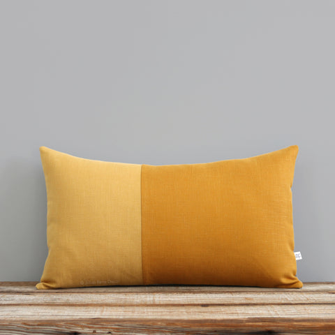 Monochromatic Colorblock Pillow - Yellow