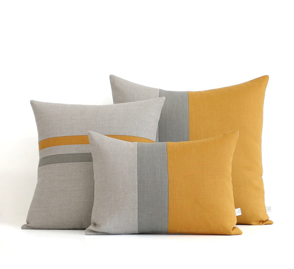 Colorblock and Striped Pillow Set of 3 - Marigold