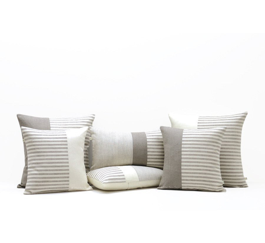 Minimal Striped Linen Pillow Cover Set of 6