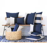Horizon Line Pillow - Lake, Navy Blue and Natural Linen