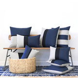 Navy, Black and Natural Linen Pillow Set of 9