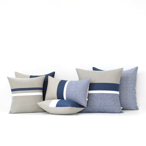Navy Striped Pillow Set of 6 - Chambray