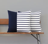 Outdoor Navy Striped Colorblock Pillow