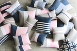 Rugby Stripe Pillow - Rose Quartz and Navy