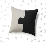 Puzzle Pieces Pillow - Black/Natural