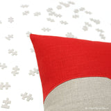 Puzzle Pieces Pillow - Red/Natural