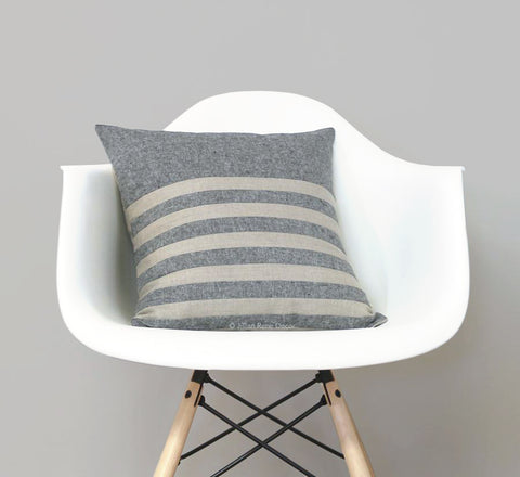 Multi Stripe Pillow - Black Chambray and Natural Linen