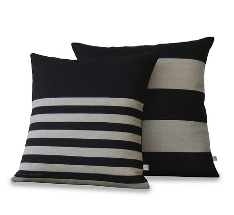 Multi Stripe Pillow - Black and Natural