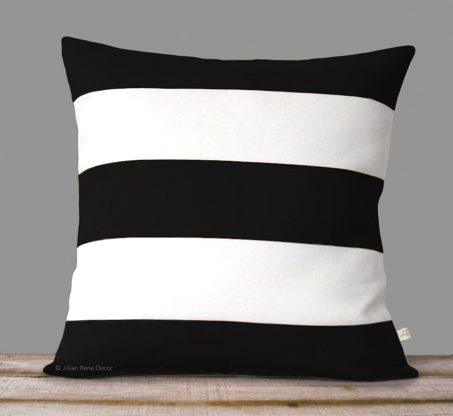 Rugby Stripe Pillow - Black and Cream