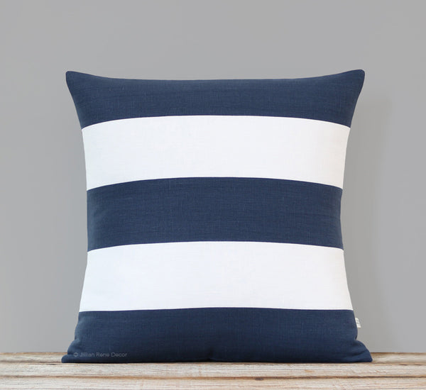 Rugby Stripe Pillow - Navy and Cream