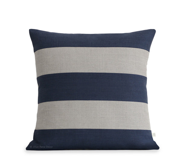 Rugby Stripe Pillow - Navy and Natural