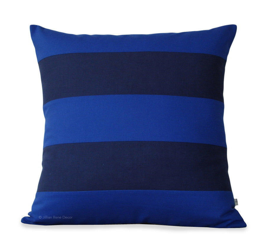 Rugby Stripe Pillow - Cobalt and Navy