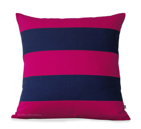 Rugby Stripe Pillow - Hot Pink and Navy