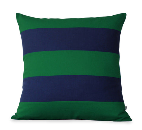 Rugby Stripe Pillow - Kelly and Navy