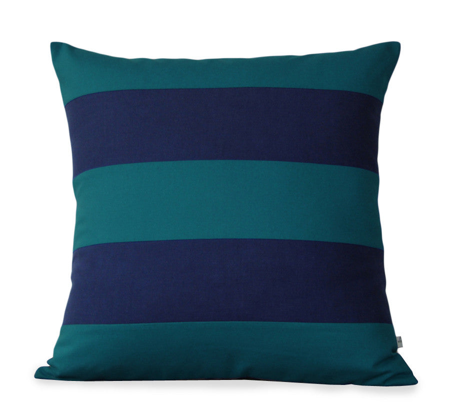 Rugby Stripe Pillow - Teal and Navy