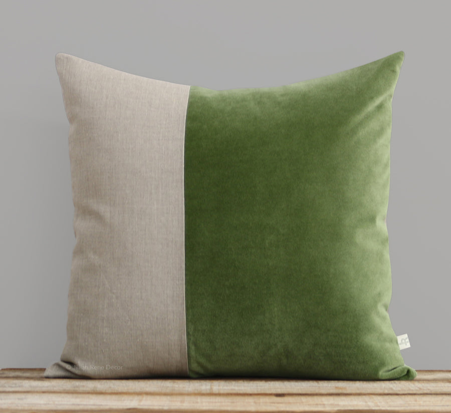 Velvet Colorblock Pillow - Herb