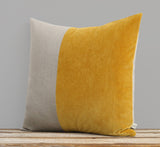 Velvet Colorblock Pillow - Golden Mustard