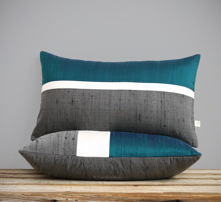 Silk Horizon Line Pillow - Teal