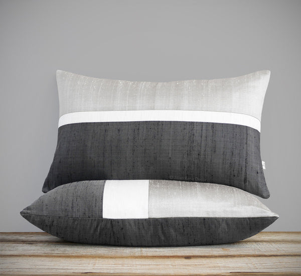 Silk Horizon Line Pillow - Silver