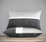 Silk Colorblock Pillow - Silver