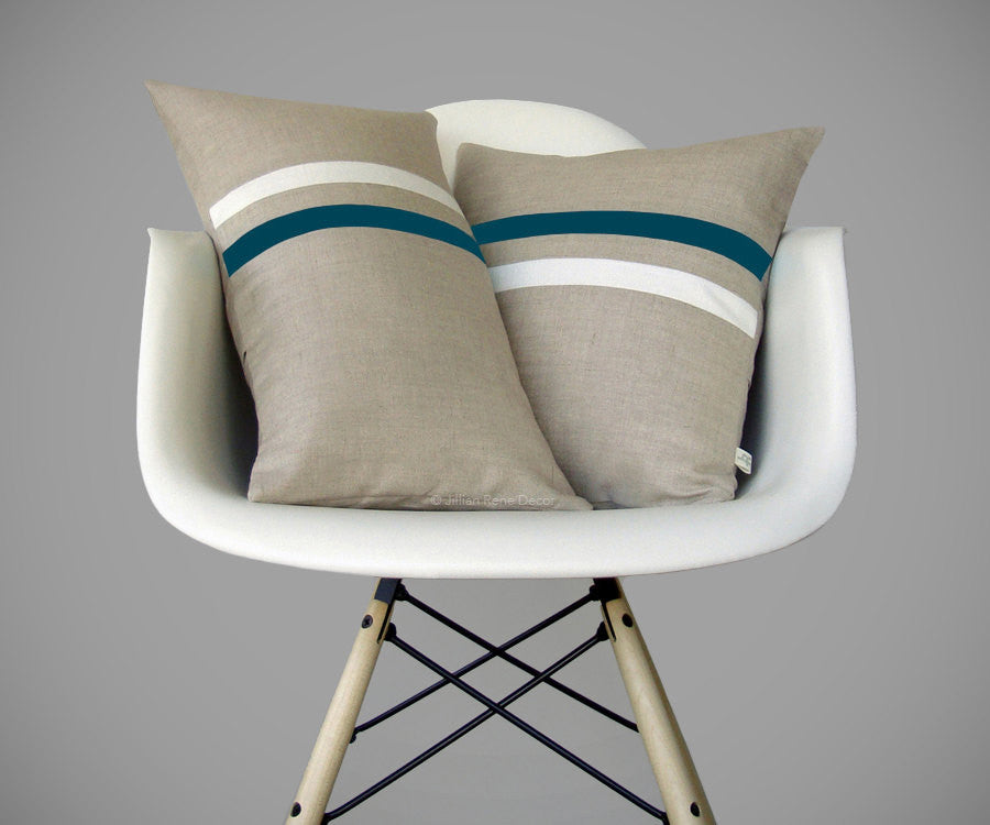 Teal and Cream Striped Linen Pillow